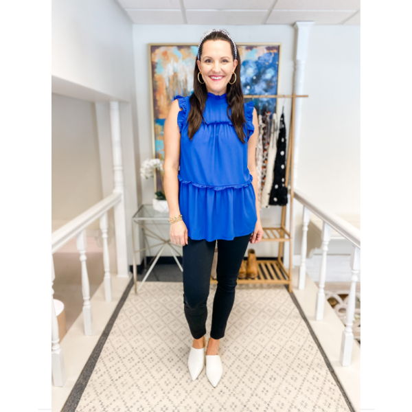 BLUE SLEEVELESS TIERED RUFFLE TOP
