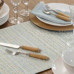 BLUE STRIPED WOVEN RUNNER