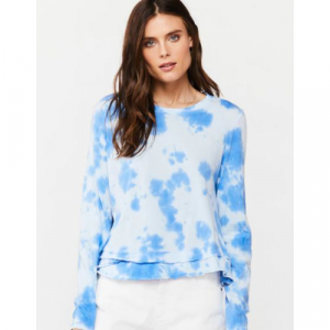 BLUE TIE DYE LONG SLEEVE TOP