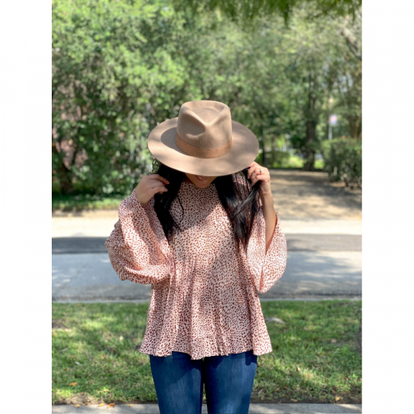 BLUSH LEOPARD LONG SLEEVE TOP