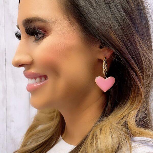 BRAIDED PINK HEART HOOP EARRINGS