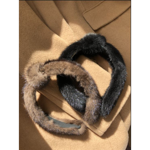 BROWN MINK KNOTTED HEADBAND