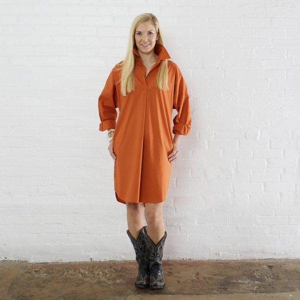 BURNT ORANGE PREPPY STAR ELBOW DRESS