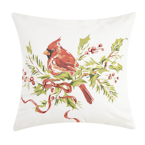CARDINAL ON HOLLY BRANCH PRINT PILLOW
