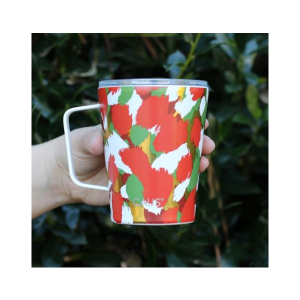 CAUS COFFEE TUMBLER WITH HANDLE IN CHRISTMAS CHEER 12 OZ
