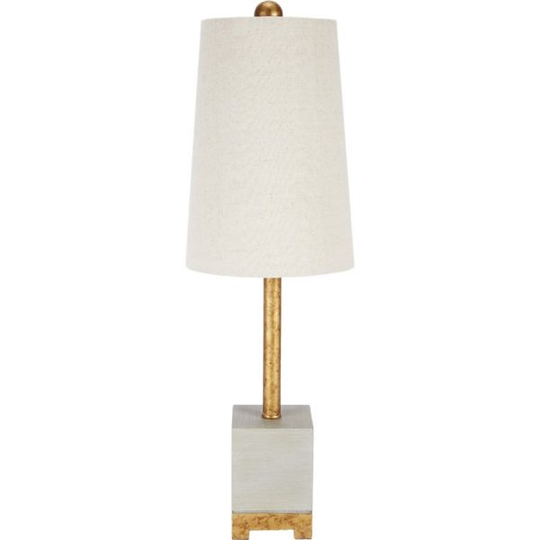 CEMENT FINISHED SMITHFIELD LAMP WITH GOLD ACCENTS & LIGHT LINEN SHADE