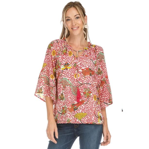 CHERRY PEASANT FLUTTER SLEEVE TOP