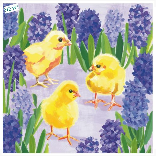 CHICKS IN HYACINTH LUNCH NAPKINS