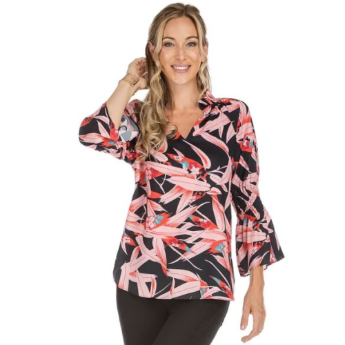 CORAL FLORAL CINCHED SLEEVE TOP