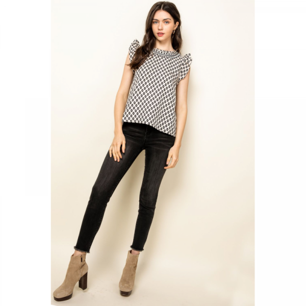 CREAM SPOTTED PRINT TOP