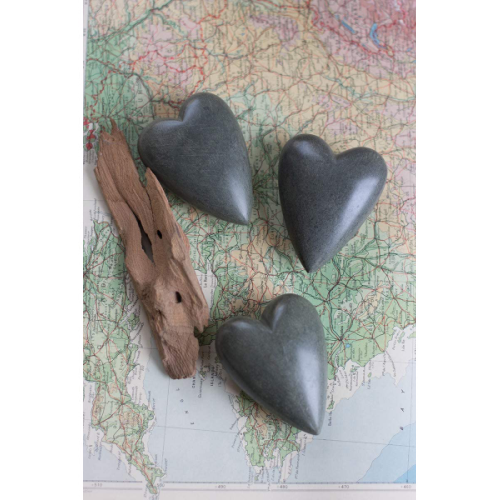 DARK GRAY HAND CARVED STONE HEART
