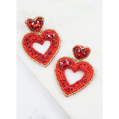 DARLING EMBELLISHED HEART EARRINGS