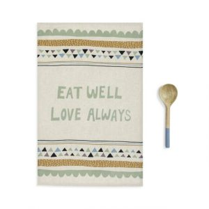 EAT WELL KITCHEN TOWEL AND UTENSIL SET