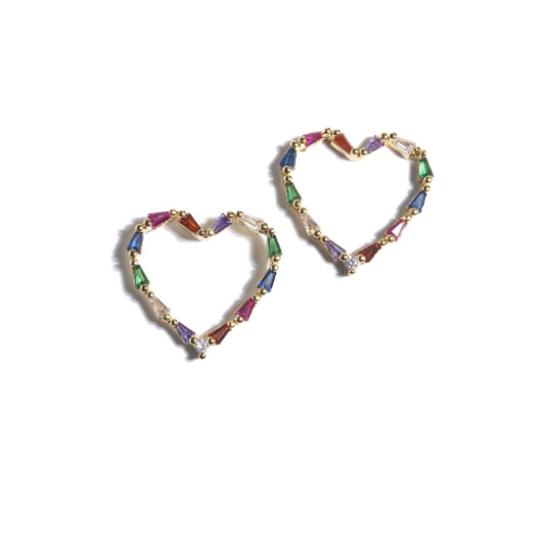 FELIZ HEART CRYSTAL EARRINGS MULTI