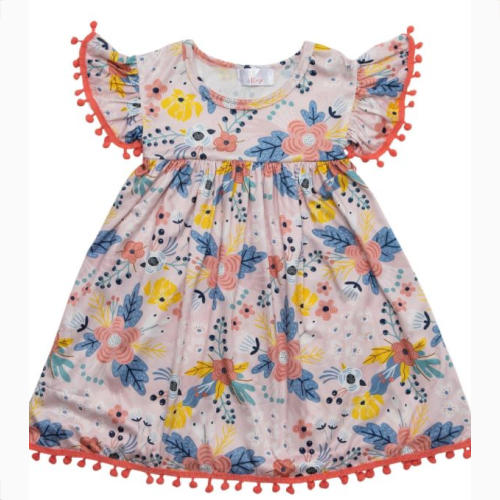 FIELD OF FLOWERS POM POM DRESS