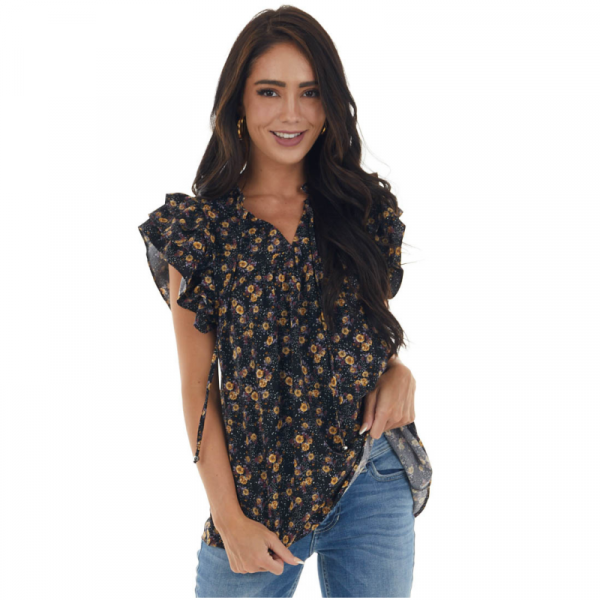 FLORAL NECK TIE RUFFLE SLEEVE TOP