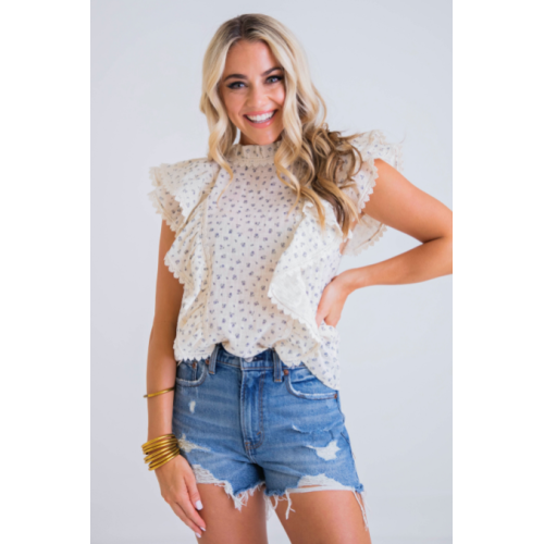 FLORAL RUFFLE FRONT SLEEVELESS TOP