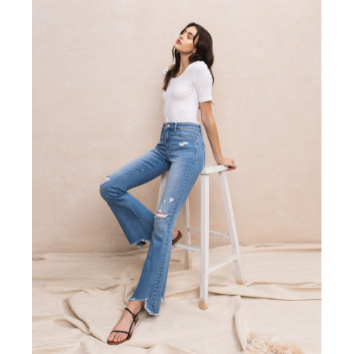 FLYING MONKEY JEANS MID RISE FLARE WITH HEM DETAIL