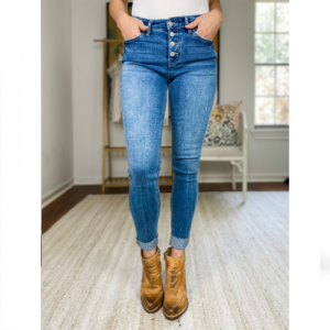 FLYING MONKEY MID-RISE ANKLE SKINNY WITH CUFF