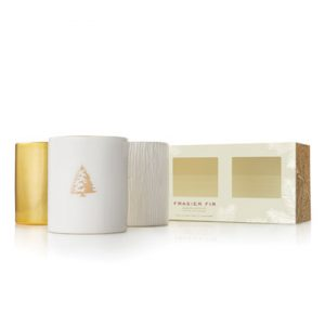 FRASIER FIR GILDED CERAMIC CANDLE TRIO