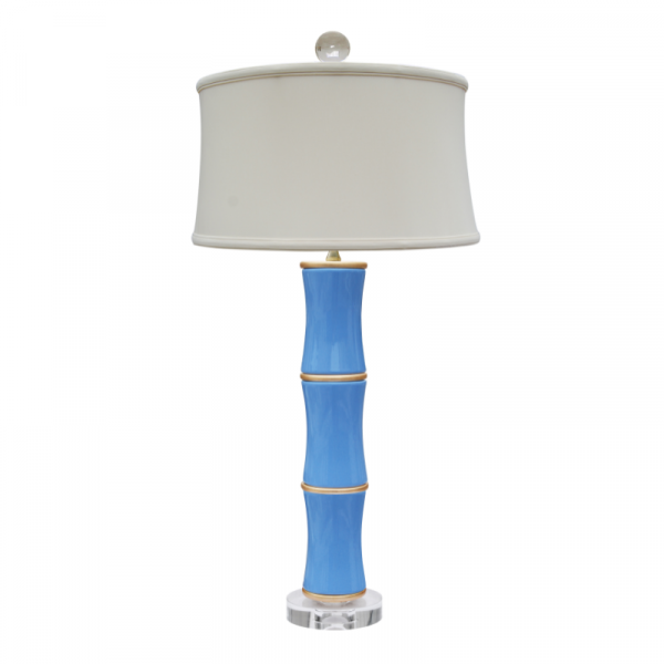 FRENCH BLUE BAMBOO LAMP