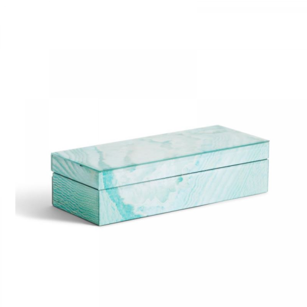 GEODE TURQUOISE HINGED COVERED BOX