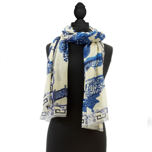 GIANT BLUE WILLOW SCARF