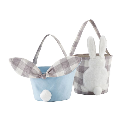 GINGHAM GRAY AND BLUE EASTER BASKETS