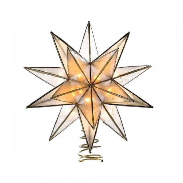GOLD CAPIZ STAR LIGHTED TREETOP