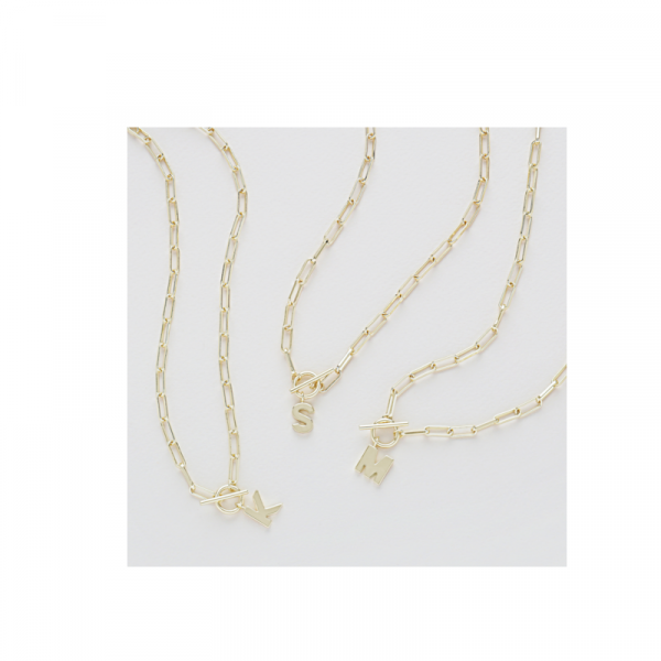 GOLD TOGGLE INITIAL NECKLACE