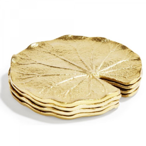 GOLDEN LILY LEAF COASTERS