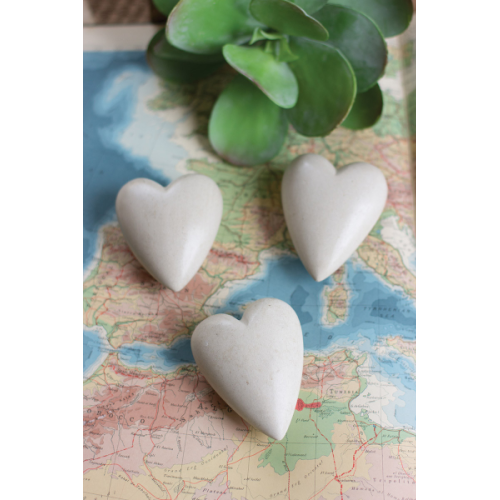 GRAY HAND CARVED STONE HEARTS