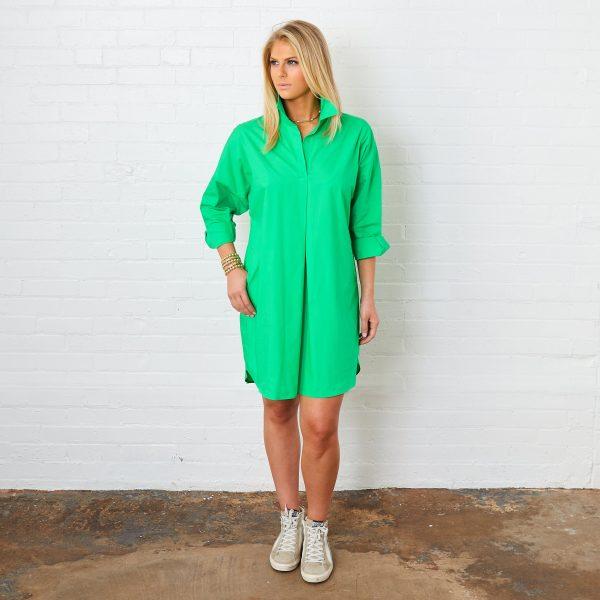 GREEN PREPPY STAR ELBOW DRESS