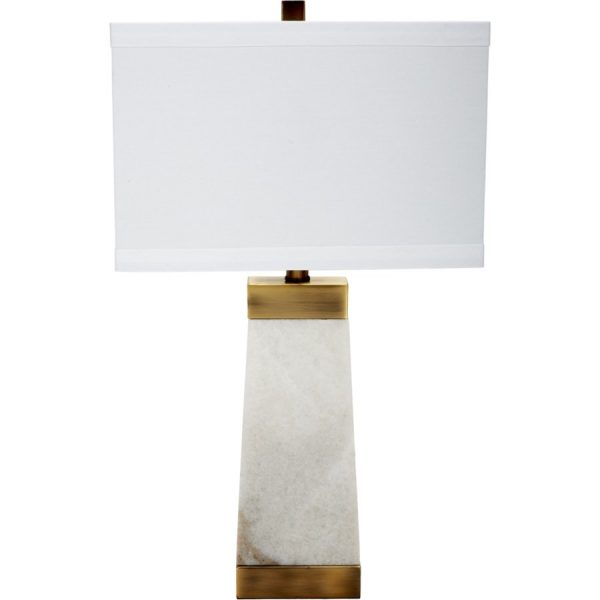 HAMMOND WHITE MARBLE LAMP WITH BRASS ACCENTS & WHITE LINEN SHADE