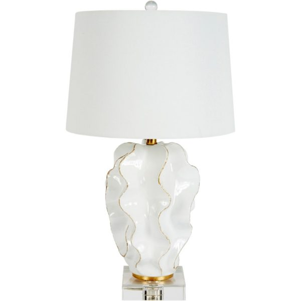 HANNAH WHITE CERAMIC WAVE LAMP WITH GOLD ACCENTS & WHITE LINEN SHADE