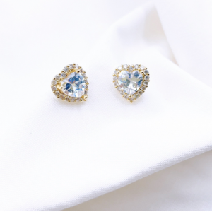 HEART CRYSTAL STUD EARRINGS