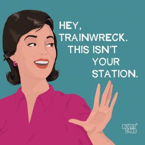 HEY TRAINWRECK BEVERAGE NAPKINS