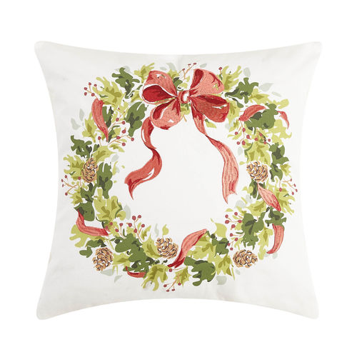 HOLLY PINECONE WREATH PILLOW