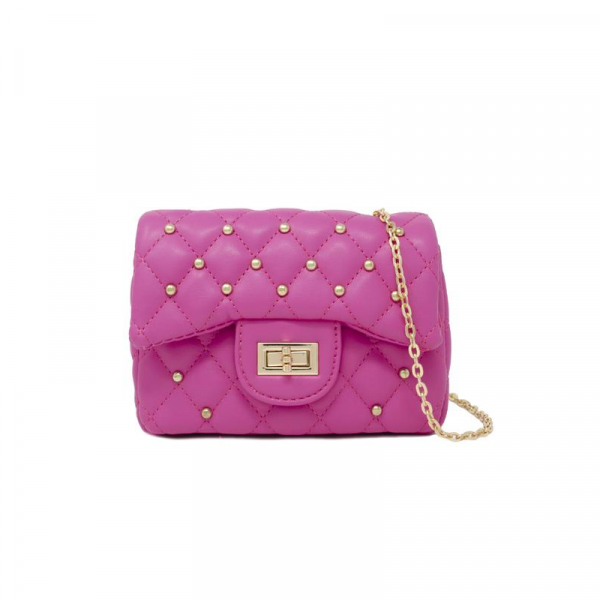 HOT PINK CLASSIC QUILTED STUD MINI BAG