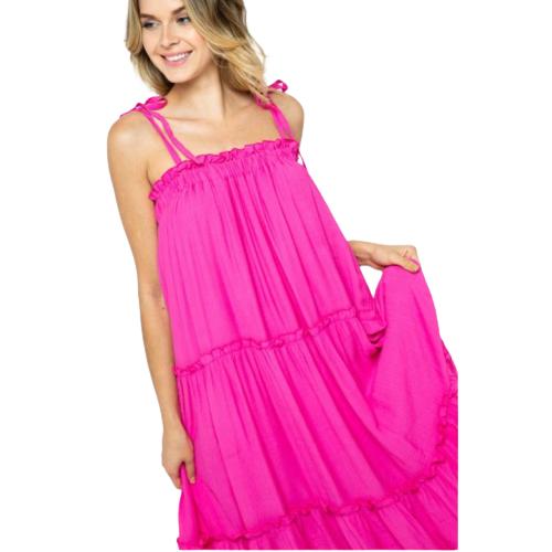 HOT PINK TIE SHOULDER DRESS