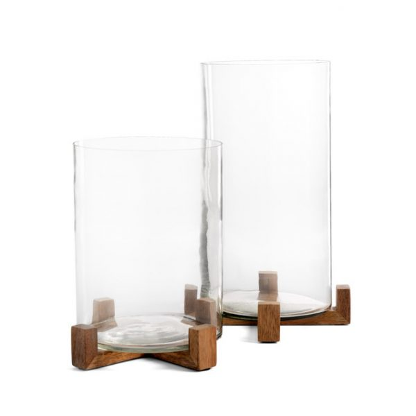 HURICANE GLASSES WITH WOOD BASES