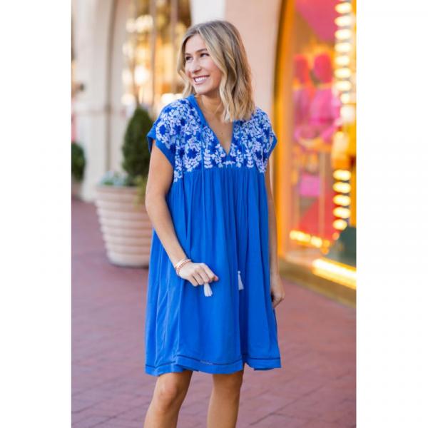 J MARIE BLUE BRE DRESS