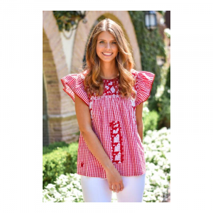 J MARIE RED REMI TOP