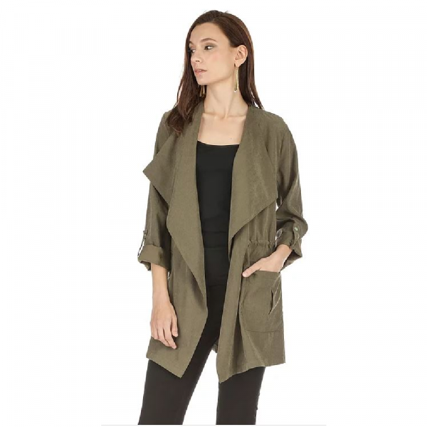 JOY JOY OLIVE SHAWL NECK STRING JACKET