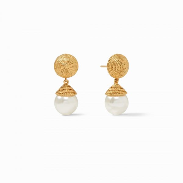 JULIE VOS CALYPSO PEARL EARRING IN GOLD