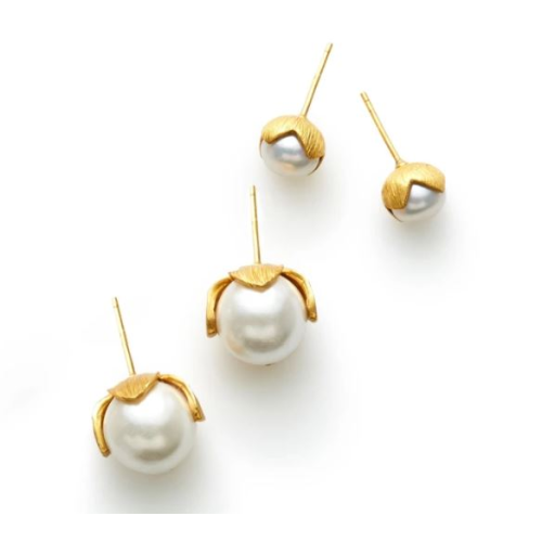 JULIE VOS PENELOPE GOLD STUD PEARL EARRINGS