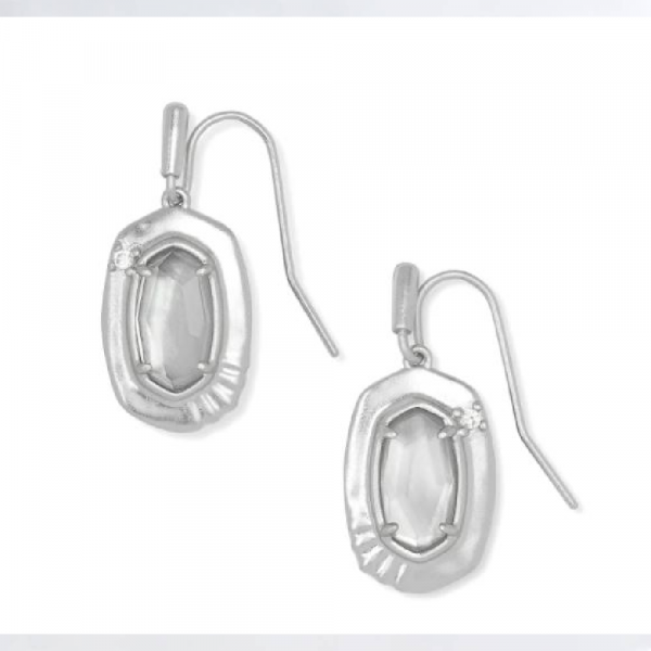 KENDRA SCOTT ANNA DROP EARRINGS IN RHODIUM