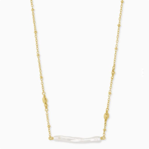 KENDRA SCOTT EILEEN GOLD PENDANT NECKLACE IN WHITE PEARL