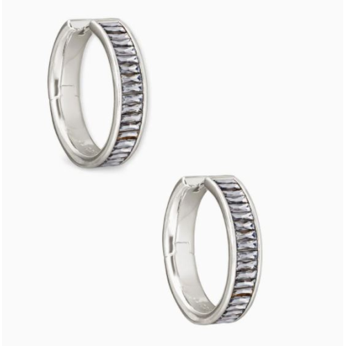 KENDRA SCOTT JACK RHODIUM HOOP EARRINGS