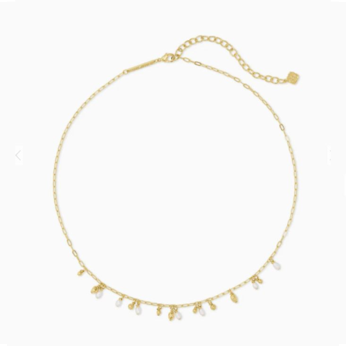 KENDRA SCOTT MOLLIE GOLD CHOKER NECKLACE IN WHITE PEARL